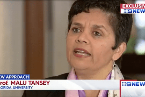 University of Florida professor and physician Dr. Malu Tansey speaking on tv