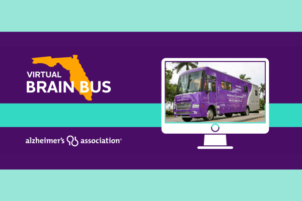 virtual brain bus sponsored by the alzheimer's association. image of a purple bus