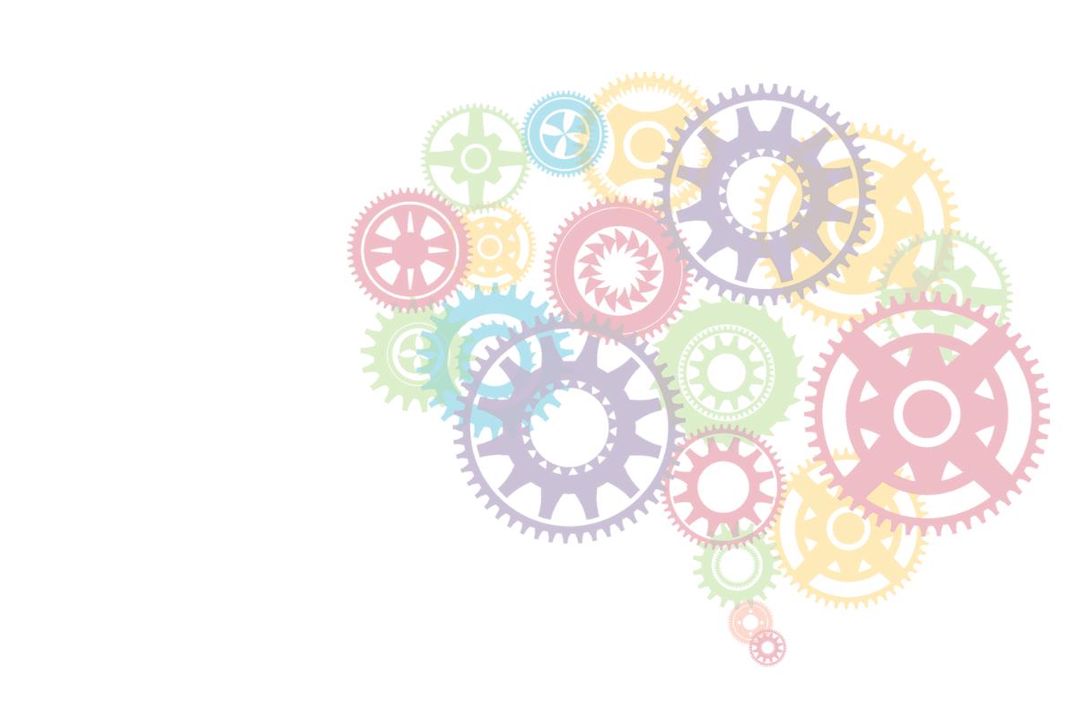 machine cogs in the shape of a brain